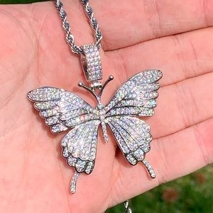 Other - Silver Butterfly Pendant + Rope Chain